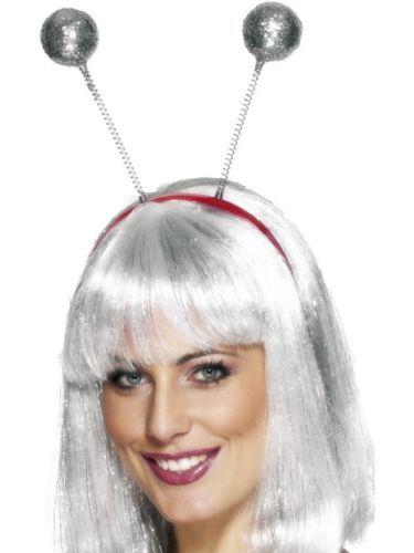 Girls Silver//White Fairy Deeley Bopper headband Birthday Party Xmas Fancy Dress