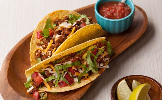 Lunch/Dinner: Tex-Mex Tacos (220 calories/serving) serve with Epicure salsa and side salad