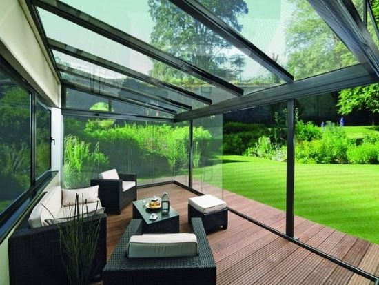Schrägedach Terrassen Überdachung-Glas Rattan Gartenmöbel #Überdachungterrasse