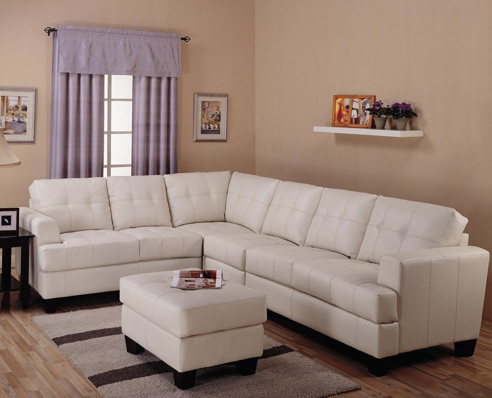 Toronto Tufted Cream Leather L Shaped Sectional Sofa at