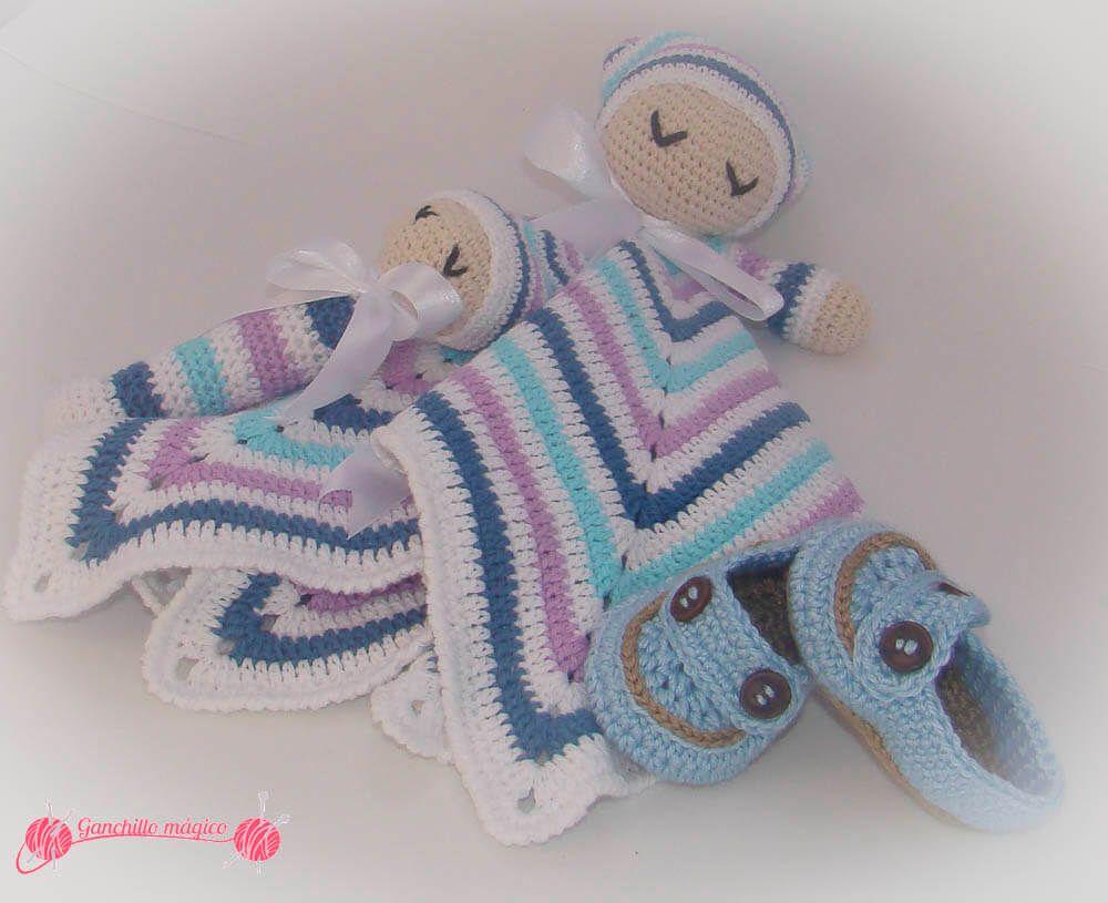 Manta de apego beb dormil n realizada en ganchillo con - Manta de bebe a ganchillo ...