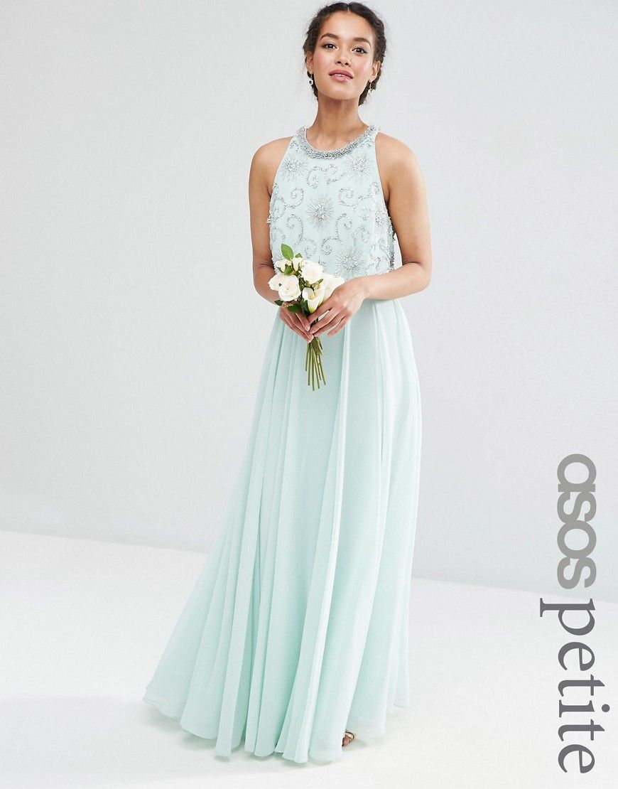 ASOS PETITE WEDDING Bridesmaids Embellished Crop Top Maxi ...