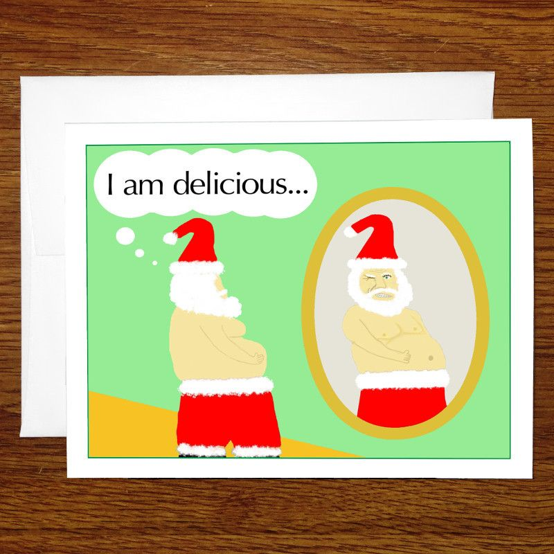 funny christmas card santa is delicious 5 or 12 card pack sale - Christmas Card Packs