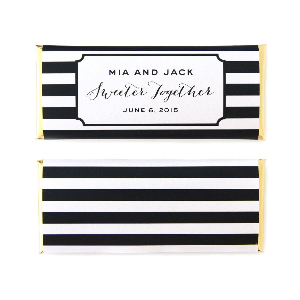 Modern Stripes Personalized Candy Bar Wedding Wrer In Black White And Gold 1 25