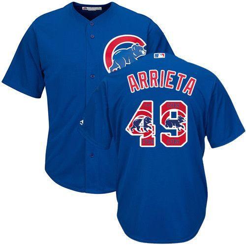 Chicago Cubs Jersey Jake Arrieta - Blue Team Logo Fashion Jersey