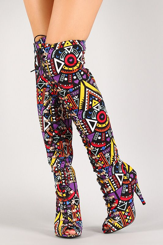 Multicolor Tribal Lace Up Peep Toe Thigh High Boot | Fall & Winter ...