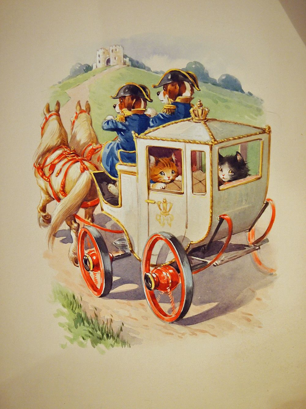 Original painting for a children's book. Cats in a horse drawn carriage with Dogs as footmen ...
