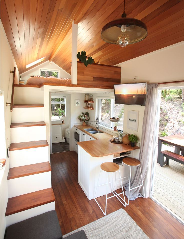 Inside a tiny home on Waiheke where modern design meets cottage style. #tinyhome #tinyhouse #tinyhousemovement #smallhouse #tinyhouseliving #tinyhouseplans