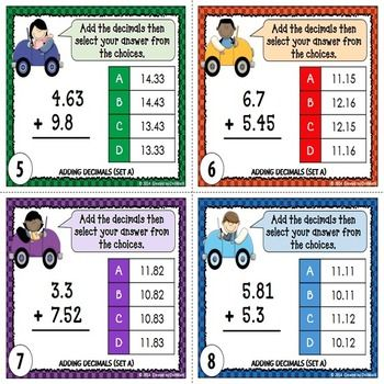 Adding Decimals Task Cards Multiple Choice Standard Form And Word