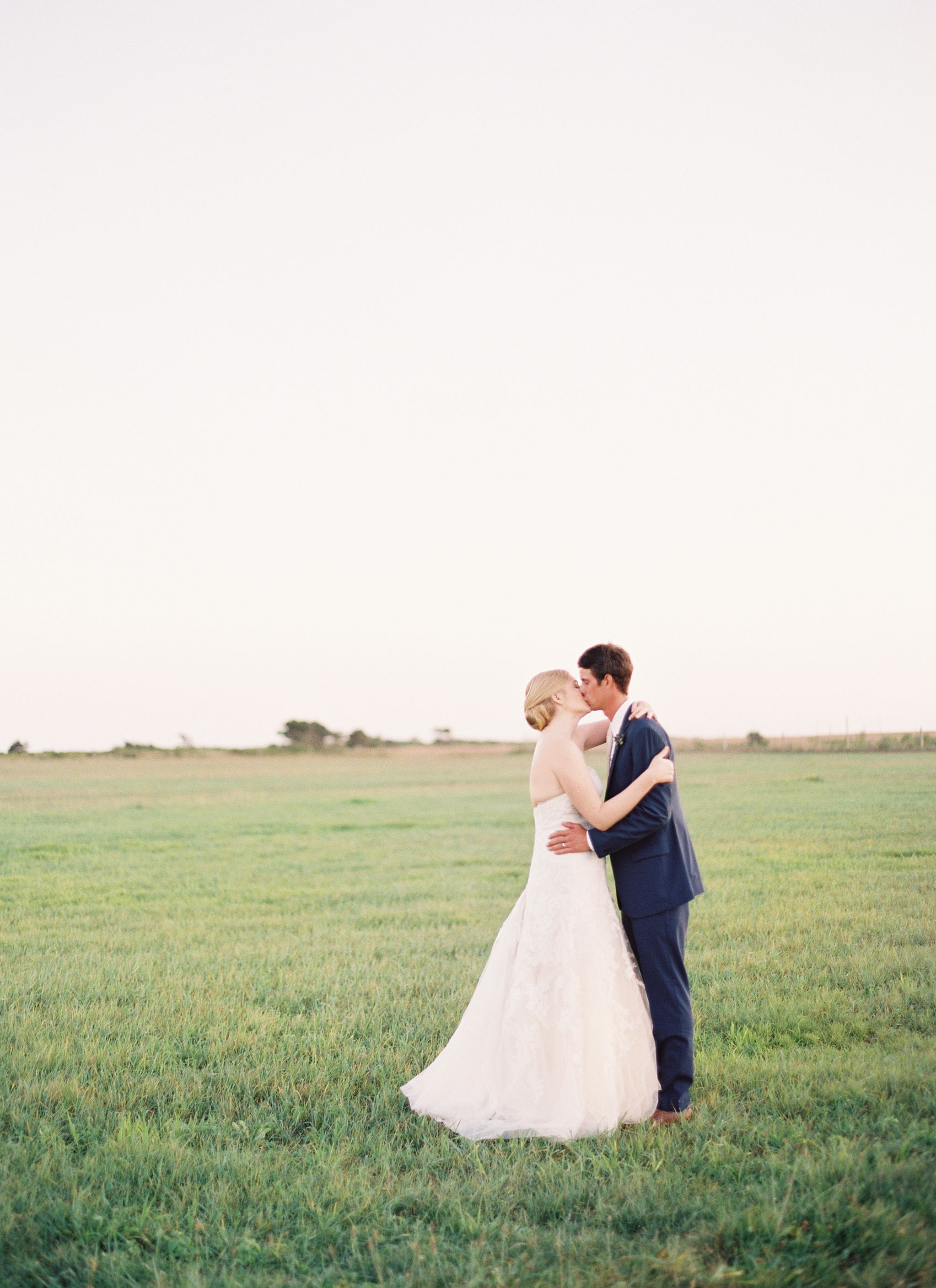 Sunset Portraits in an Open Field for this Nantucket Wedding