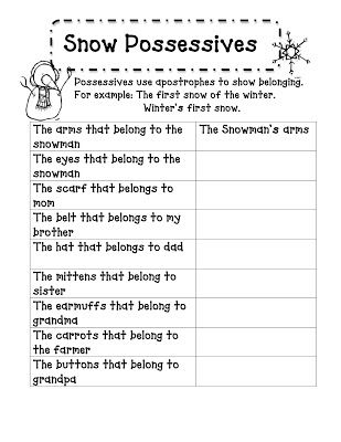 Snow Possessives Poem And Activities Possessive Nouns Nouns Worksheet Nouns Worksheet 2nd Grade Possessive nouns worksheets grade