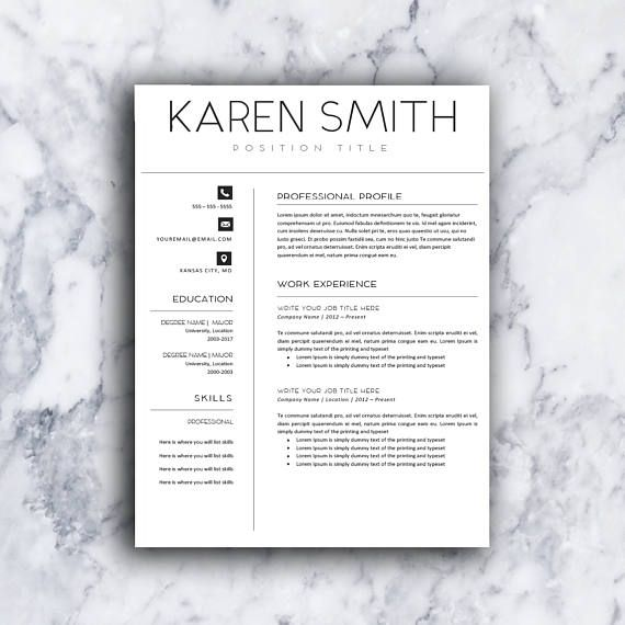 Modern Resume Template CV Template Professional Cover Letter