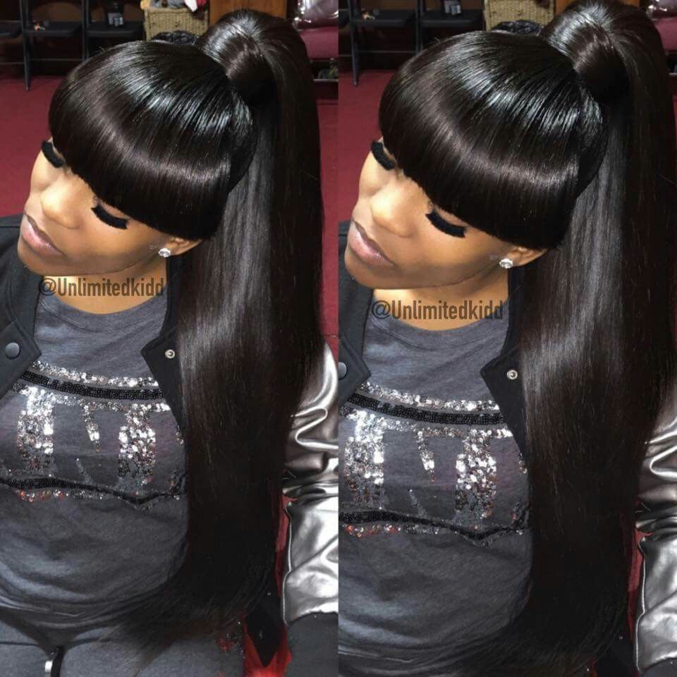 Pinterest Cravingshay Black Ponytail Hairstyles Hair Styles Weave Ponytails With Bangs