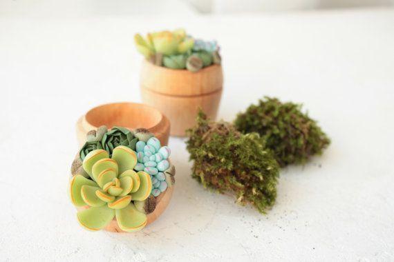TO ORDER ONLY Green Blue Succulent Ring Box Bearer by EtenIren