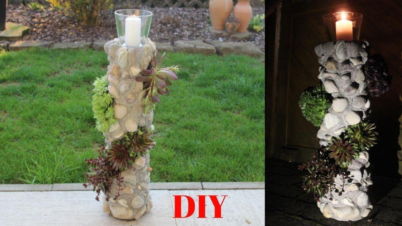 DIY GartendekoBlumensäule mit WindlichtDIY garden decoration flower column with wind ligh DIY GartendekoBlumensäule mit WindlichtDIY garden decoration flower co...