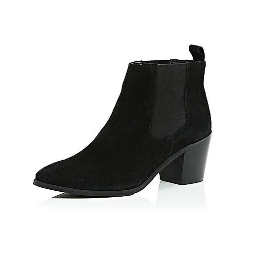 Black Suede Ankle Boots Low Heel - Boot Hto