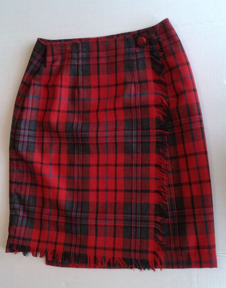 10bd08d92 Vintage FORENZA Red Plaid Women's Girls WOOL SKIRT Size 6 80'S STYLE Fringe  Edge #Forenza #StraightPencil