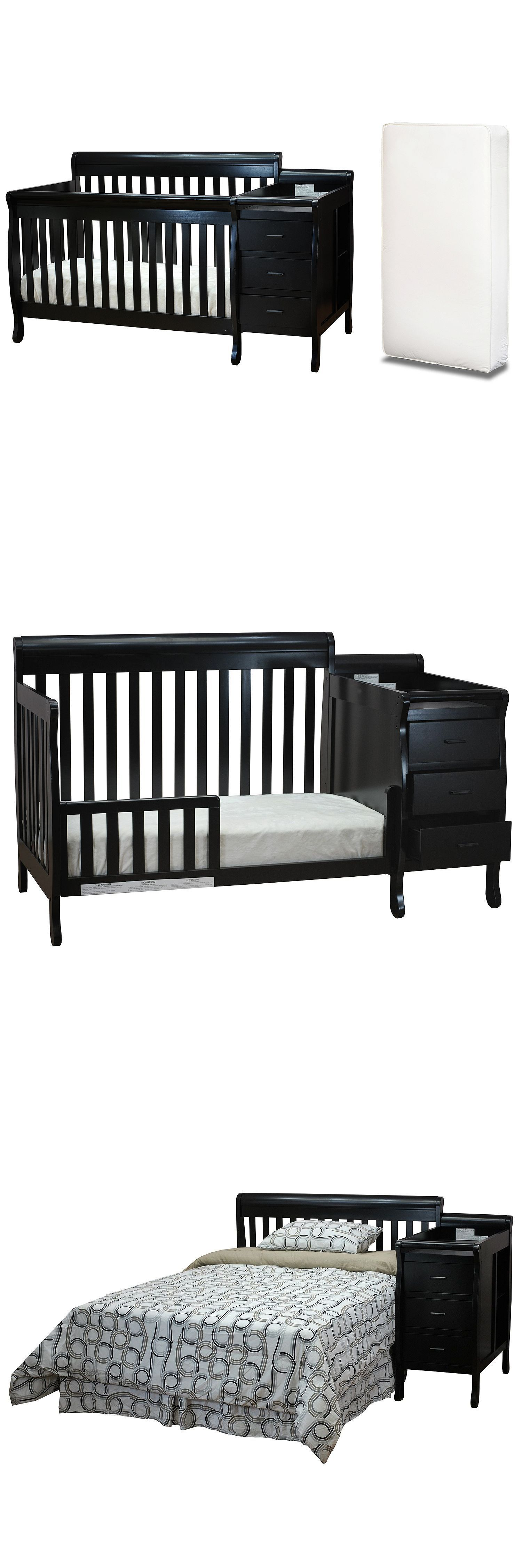Baby crib with changing table dresser black toddler bed in