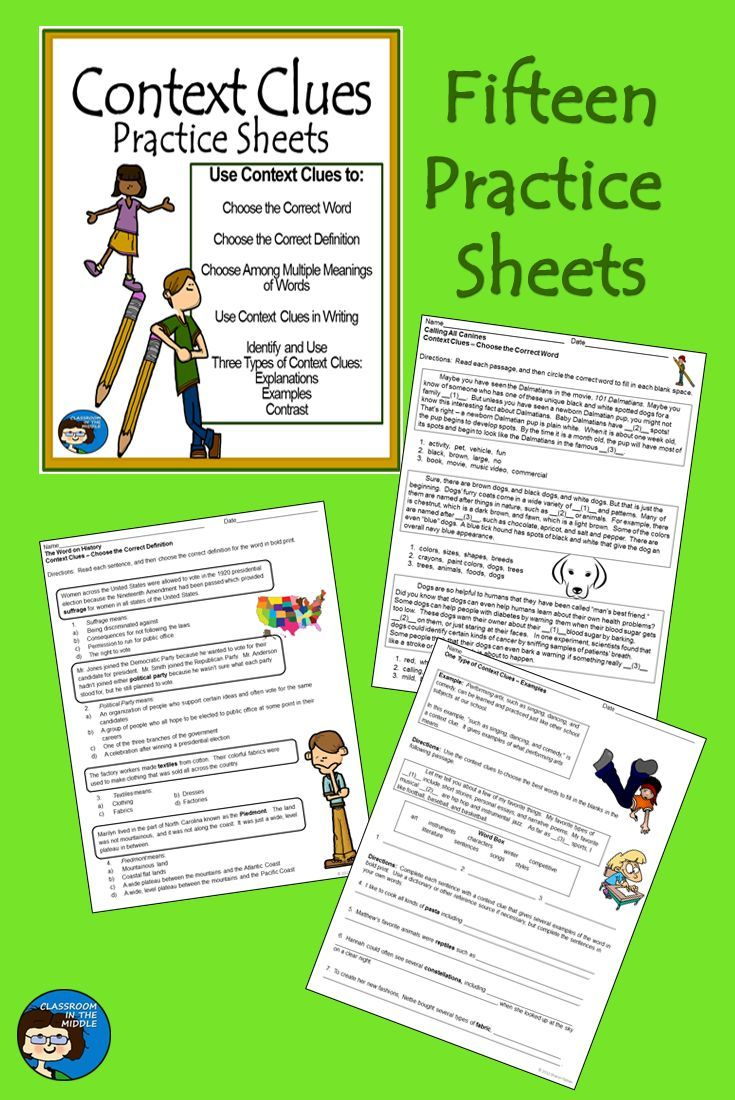 Context Clues Practice Sheets Includes Fifteen Activities For Students To Work With Context Clues Context Clues Context Clues Worksheets Vocabulary Activities