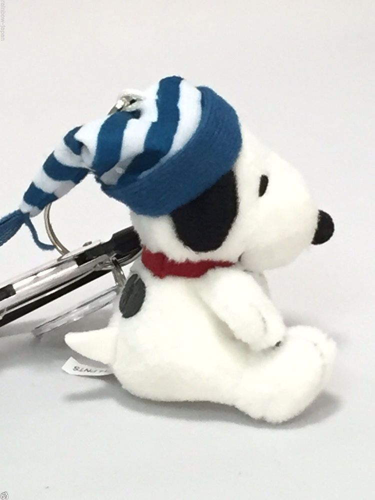 Vintage Snoopy Peanuts Mascot Key Charm Woodstock Plush Doll Chain Ring