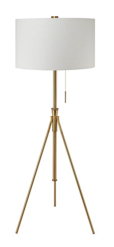 Midcentury modern ore international mid century to h adjustable tripod gold floor lamp matte gold