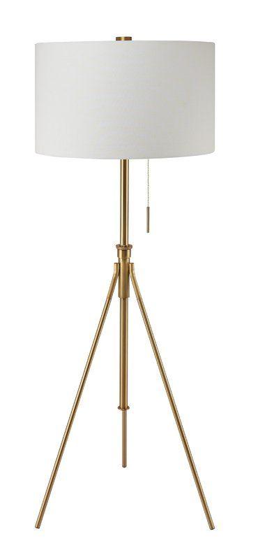 Midcentury modern ore international mid century to h adjustable tripod gold floor lamp matte gold