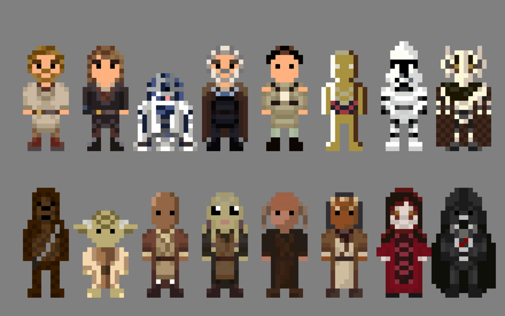 Star Wars Revenge Of The Sith Characters 8 Bit By Lustriouscharming Pixel Art Star Wars 8 Bit