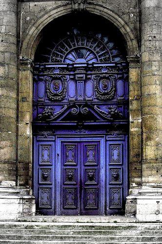 Beautiful Indigo Baroque Door. St. Paul, France.