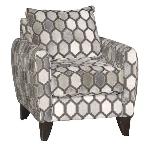 Geometric Pattern Gray Silver Accent Chair Kimmy Accent