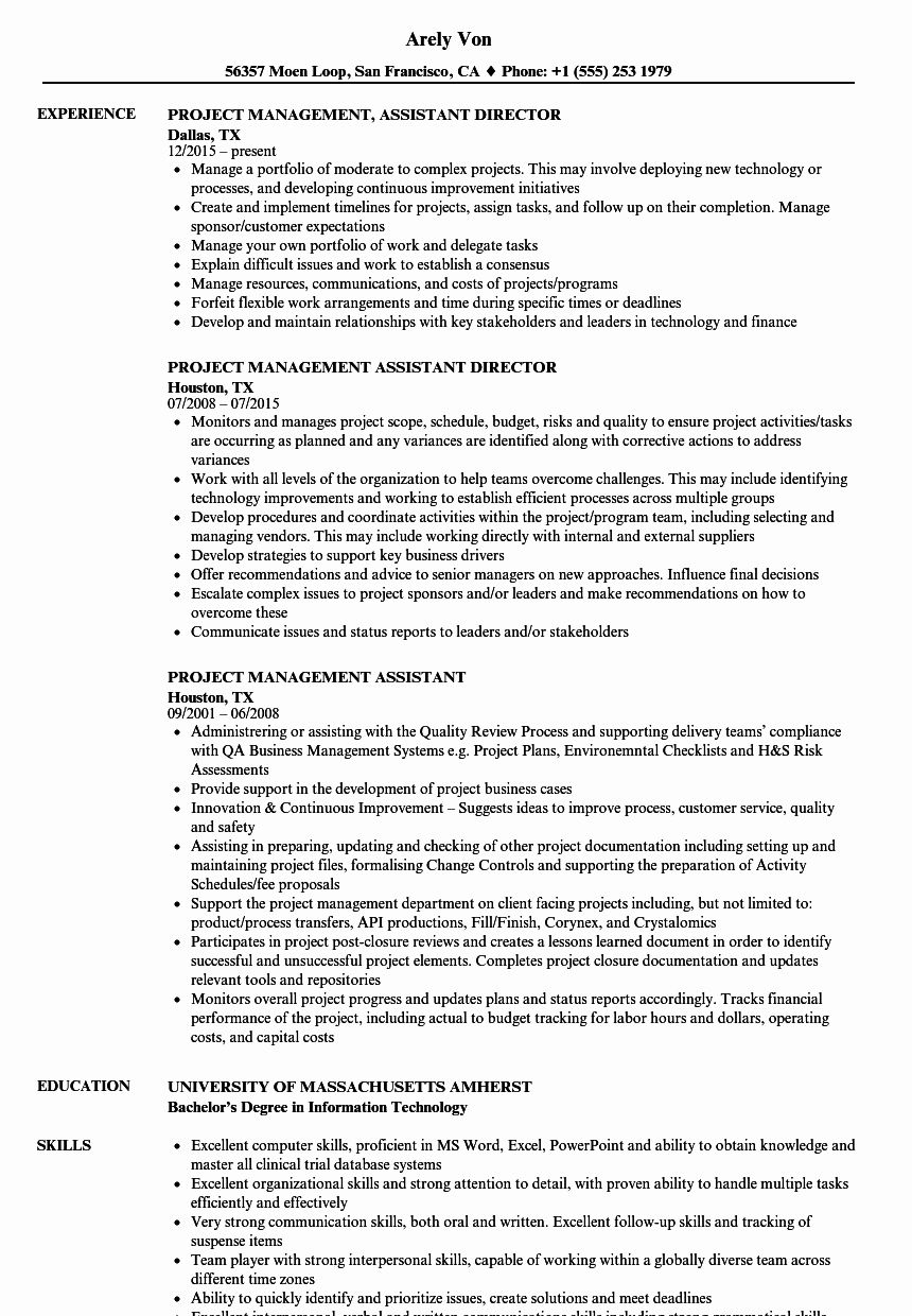 Assistant Project Manager Resume Lovely Project Management