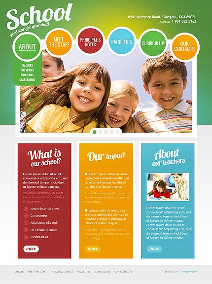 Kids Center Website Template Web Design Pinterest Image - Brochure website templates