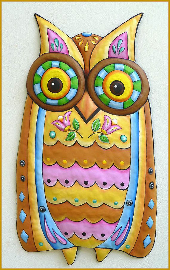 painted metal owl wall hanging, metal art wall decor, metal art