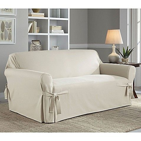 Perfect Fit Relaxed Cotton Duck Sofa Slipcover In Natural