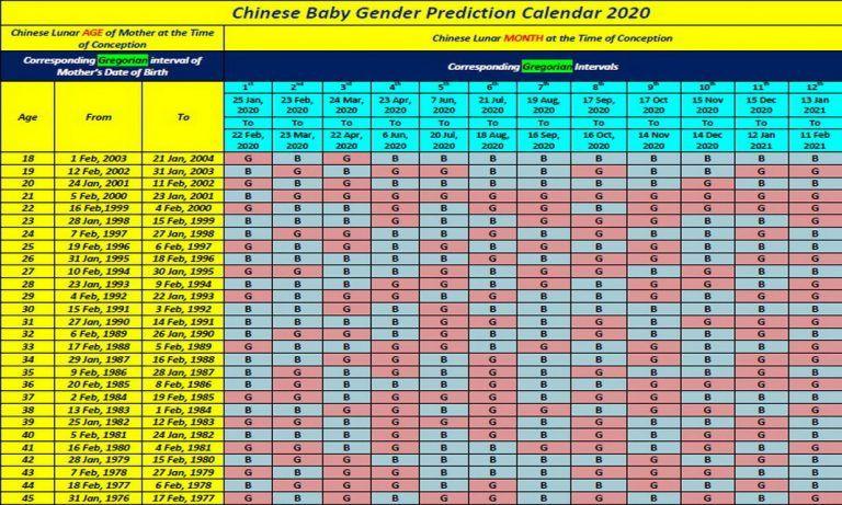Chinese Calendar Baby Gender 2020 in 2020 Gender