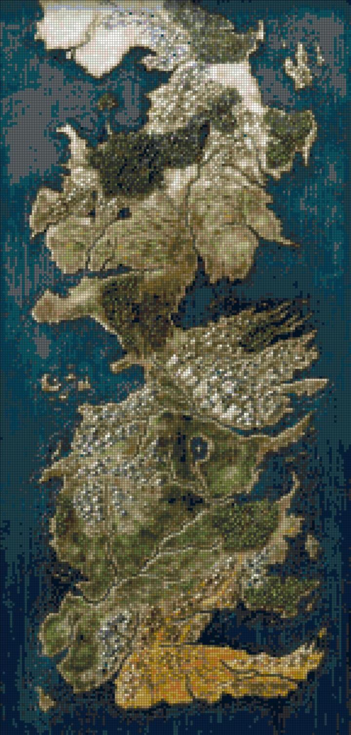 Full map of Westeros cross stitch pattern
