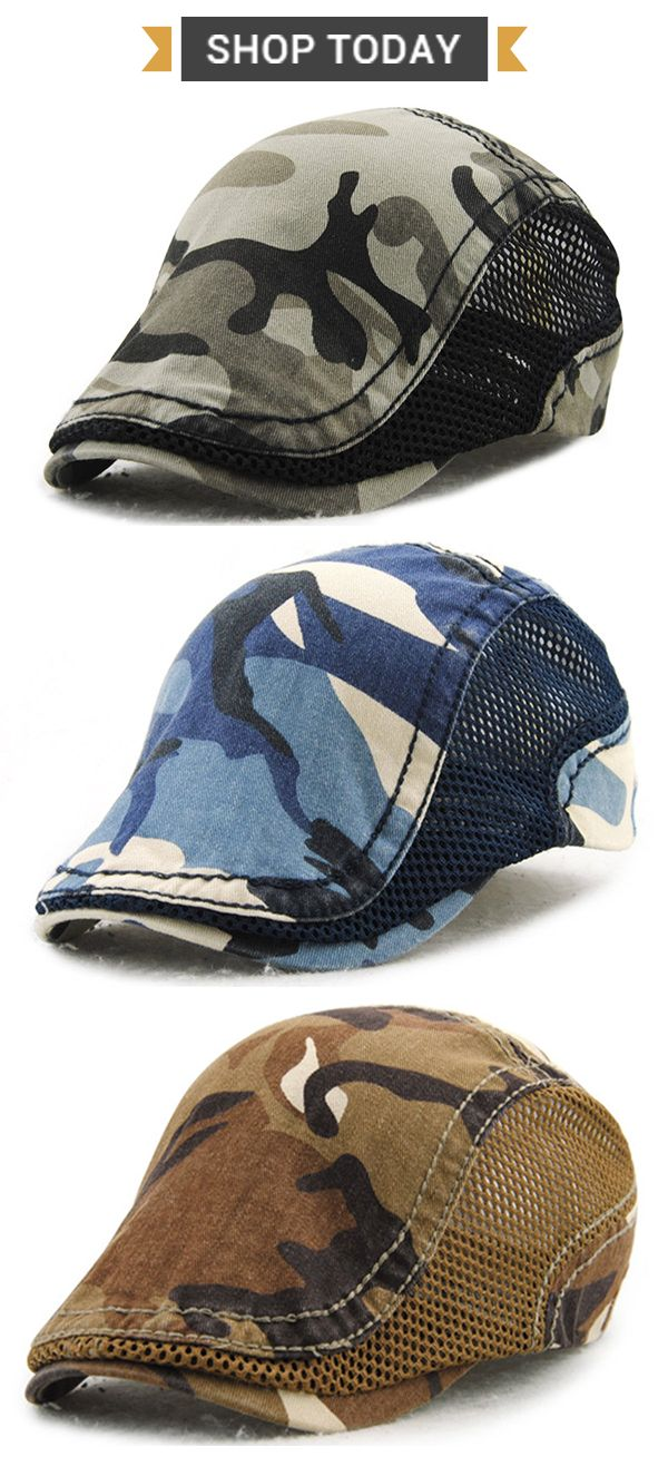 ba04341b4ea  UP TO 48% OFF Beret Cap--Mens Camouflage Mesh Cotton Sun Hat outfits   summer