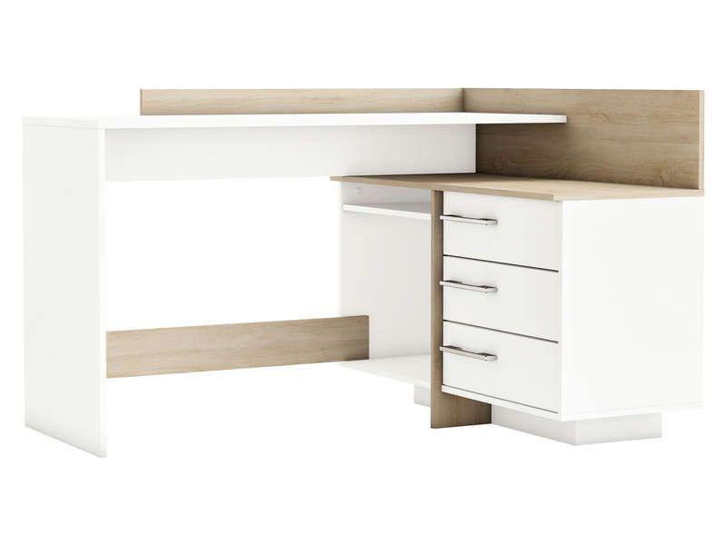 Bureau avec retour 3 tiroirs thales 2 coloris chêne brossé blanc