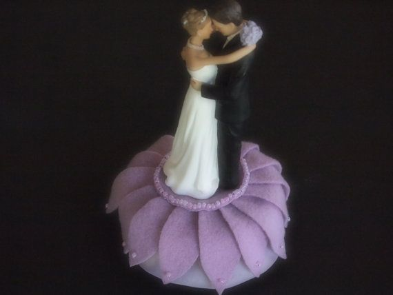 Wedding Cake Topper Lavender Bride and Groom aster flower choose your colors  by ArtisanFeltStudio, $45.00