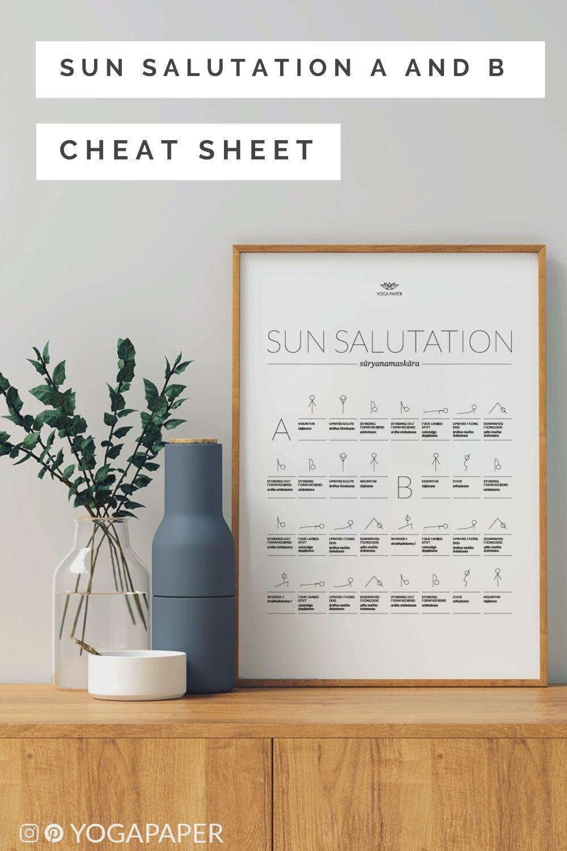 Sun Salutation A And B Cheat Sheet A Printable Yoga Sequence ...