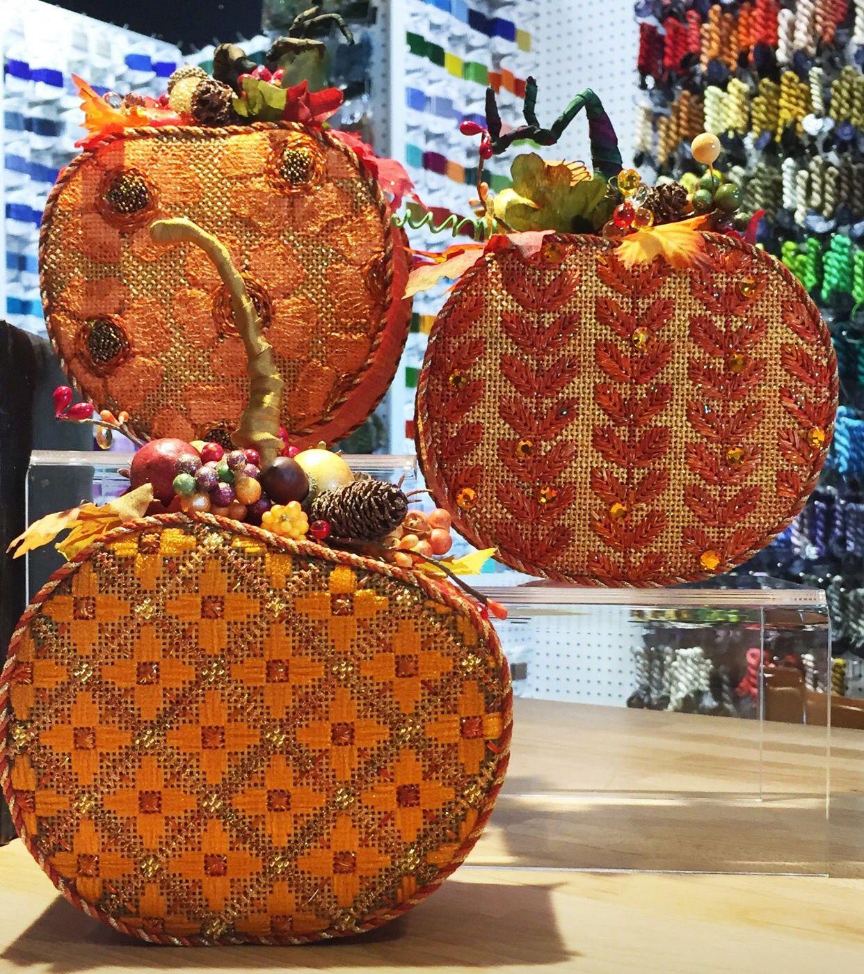 Melissa Shirley needlepoint pumpkins