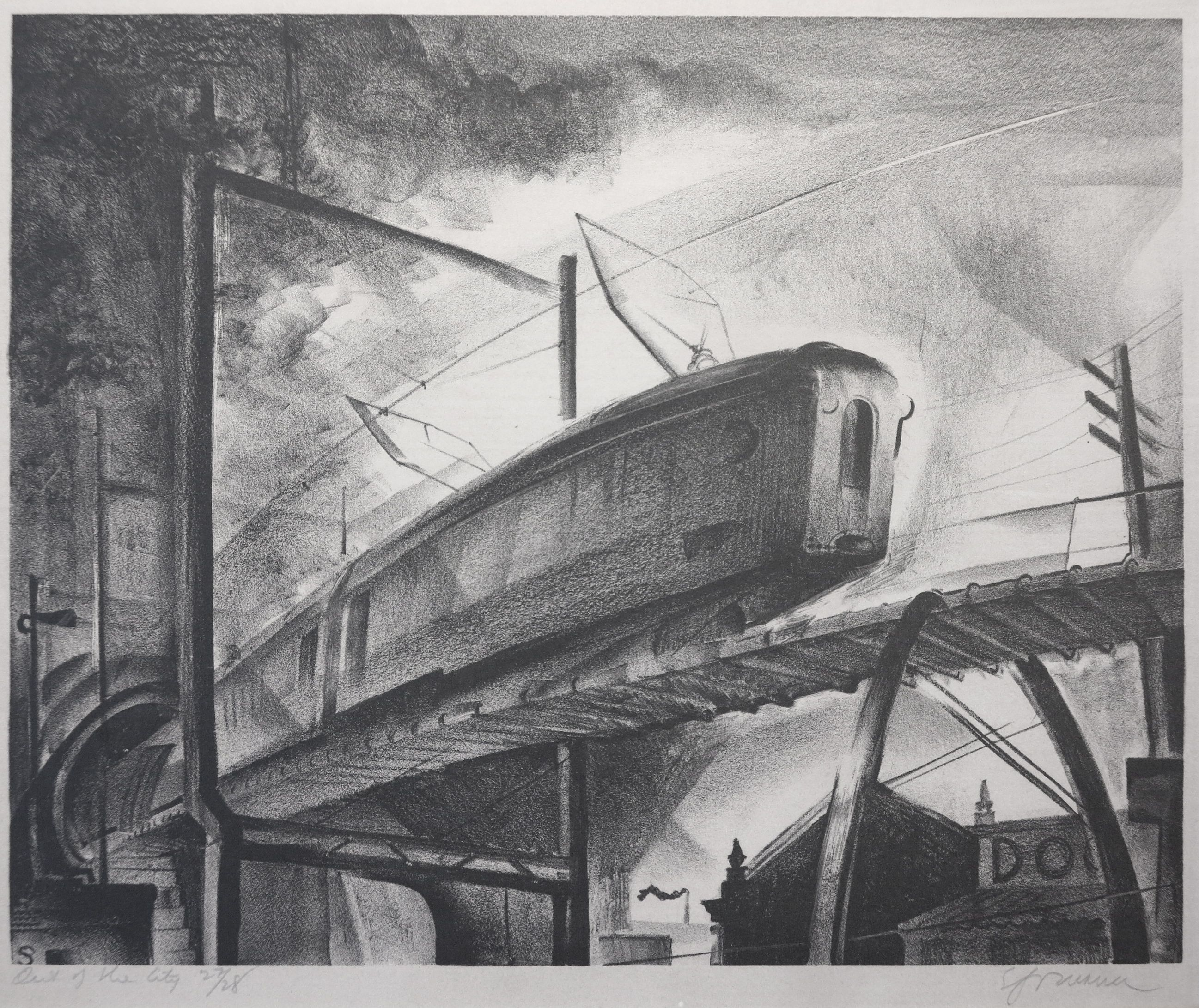 Benton Murdoch Spruance (1904-1967). Out of the City, 1930 (FL #33) Ed. 28. Lithograph on wove paper