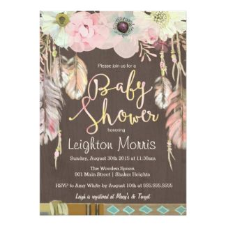Boho Chic Tribal Rustic Pastel Floral Flowers Feathers BABY SHOWER Invite Announcements Invitation Invites Card