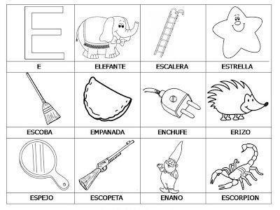 Laminas Con Dibujos Para Aprender Palabras Y Colorear Con Letra E Vocales Para Colorear Abecedario Para Ninos Actividades De Letras