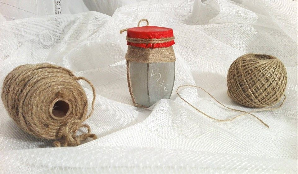 Handmade :Small jar engraved and decorated with rope , paper and red leather . 25 lei buc 6 euro/piece Just one piece.