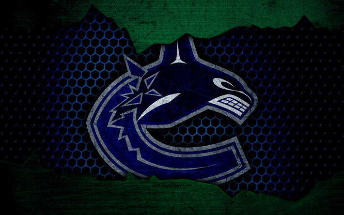Download wallpapers Vancouver Canucks, 4k, logo, NHL, hockey, Western Conference, USA, grunge, metal texture, Pacific Division