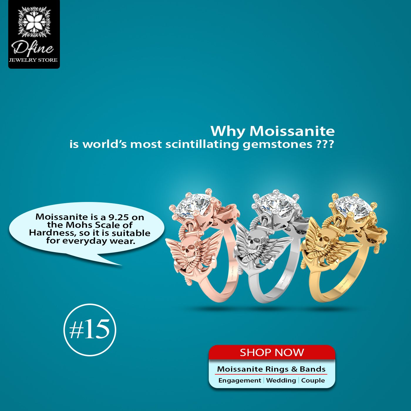 Yes!! moissanite is world's most scintillating gemstones..... . . . . Solitaire Moissanite Skull Wedding Ring Winged Skull and Anchor Ring . . . . . It's a 6 Prong Set 8.0mm Excellent Round Cut With VVS-VS Clarity Lab Created Approx 2.20ct Solitaire White Moissanite Skull Engagement Ring For Women. . . . visit our onlinestore www.dfinejewelrystore.com for moissanite jewelry & buy now . . . #dfinejewelrystore #skull #skullart #skulls💀 #skullcollector #skullring #gothic #gothicring #gothicrings
