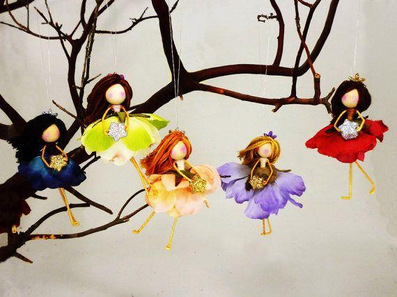 3 Flower Fairy Doll Ornaments, Waldorf Christmas Fairies, Fairy Princess  Gift,Tree Fairy Doll, Fairy Christmas, Ornament Set - 3 Flower Fairy Doll Ornaments, Waldorf Christmas Fairies, Fairy