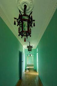Prettiest Jade Green Hallway With Lantern Dark Walls House Painting Bohemian House