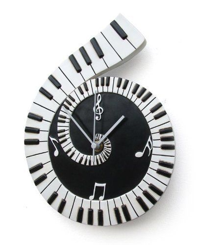 PIANO MUSIC SCROLL TIME WALL CLOCK - Birthday / Christmas Gift - time clock spreadsheet