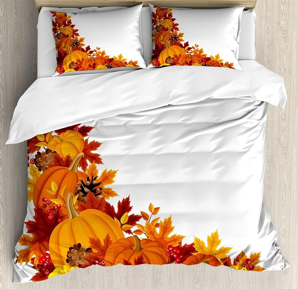 Autumn Leaves and Fruits on Fall Season Printed Duvet